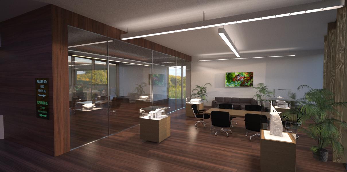 Büro mit voller Raumbeleuchtung